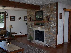 Stone fireplace
