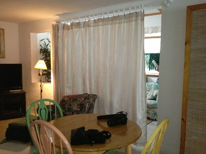 living area/curtain