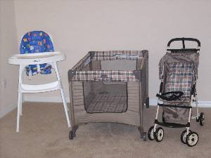 Crib, Stroller  etc