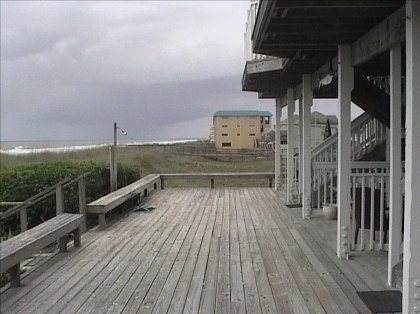 Large deck on beach