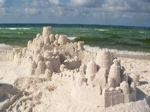 Sandcastles on beach