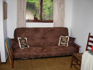 Futon in dining room